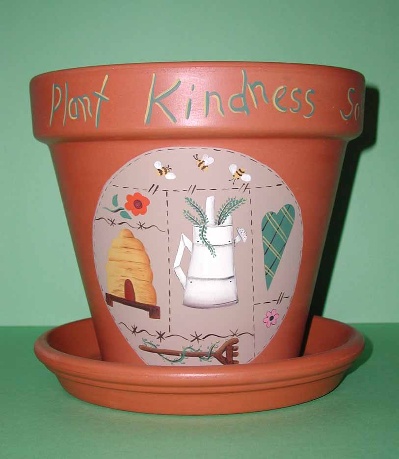 Painted Clay Pot Designs http://www.leewismer.com/ClayPots2.html