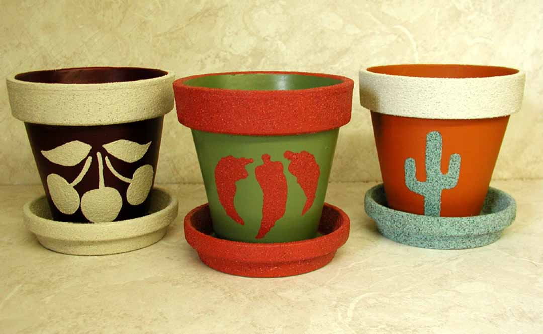 Painted Clay Pot Designs http://www.leewismer.com/ClayPots.html