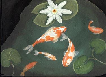 Rock Paintings Slates Painted Rocks Lee Wismer Fish Pond